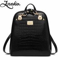 LOVAKIA Brand Women Backpack High Quality Split Leather Knapsack Female Crocodile Prints Large Multifunctional Backpack
