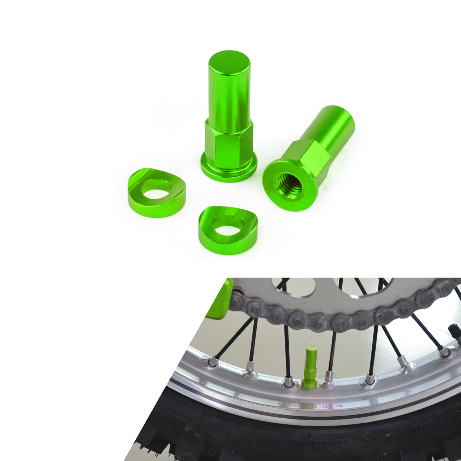 Nouveau Motocross Dirt Bike Jante Écrou Spacer Kit Pour CR YZ KX RM CRF YZF KXF RMZ 85 125 250 450