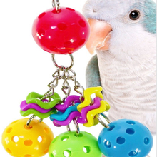 1pcs Parrot Toys Plastic Ball Bell Toy Biting Climbing Chewing Bird Swing Hanging Birdcages Decor for Cockatiel Parakeet