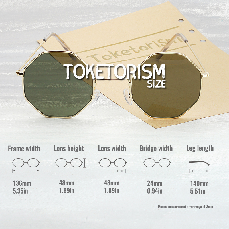 Toketorism trend 2019 octagon sunglasses vintage women 39 s fashion glasses metal frame 5453 in Women 39 s Sunglasses from Apparel Accessories