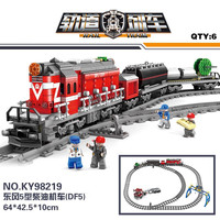 Fit City Series Power Driven Diesel Rail Train Cargo With Track Set building blocks toys for Children Kazi 98219/98220