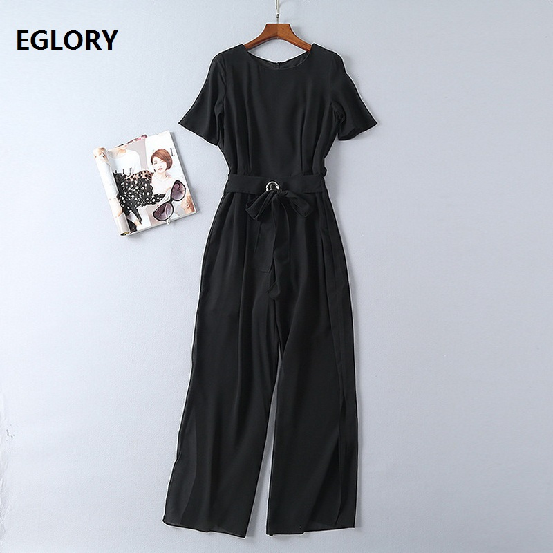 Women Jumpsuit Summer 2018 High Quality Office Ladies Eyelet Ring Belts Short Sleeve Straight Elegant Long Rompers Pants Overall