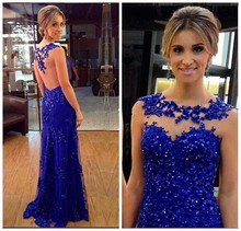 Royal Blue Mermaid Long Prom Dress Scoop Neck Sexy Evening Gown Sheer Back Sweep Train Lace With Beads And Sequins Party Dresses