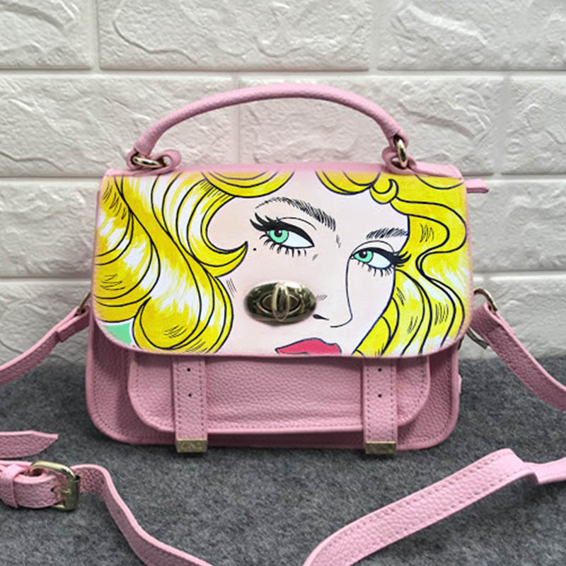 printing Sweet Flamingos Designer bag Cow Leather Handbags paint cat pop girl Female Messenger Shoulder Crossbody bag for womenprinting Sweet Flamingos Designer bag Cow Leather Handbags paint cat pop girl Female Messenger Shoulder Crossbody bag for women