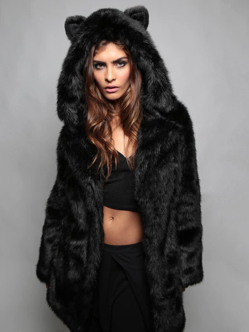 9f23fc134026 Hiver femmes à manches longues veste à capuche en fausse fourrure avec l  oreille d ours mignon épais manteau vêtements pardessus Parka Q1779 dans  Faux ...