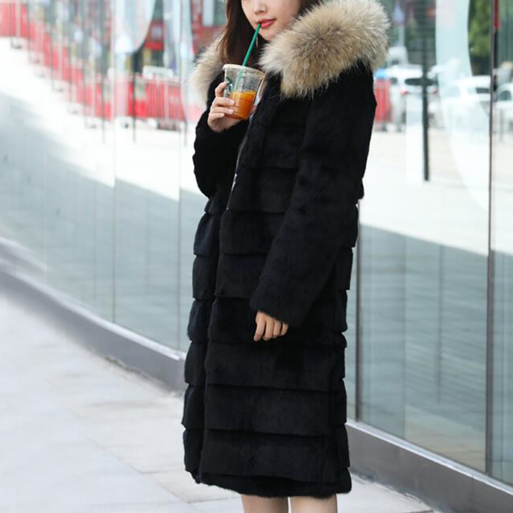 Hooded Women Full Skin Vintage Warm Winter Genuine Natural Rabbit Fur Overcoat with big Hood and Real Raccoon Fur Collar wsr342