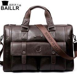 BAILLR Brand Man Bag Leather Black Briefcase Men Business Handbag Messenger Bags Male Vintage Men's Shoulder Bag Large Capacity