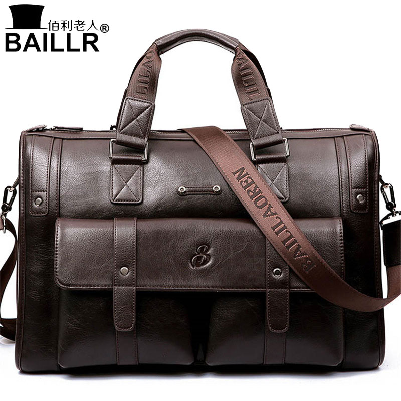 BAILLR Brand Man Bag Leather Black Briefcase Men Business Ha