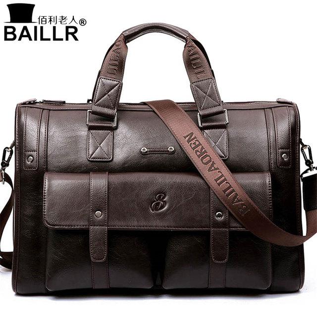 3487a8791029 BAILLR брендовая мужская Сумка кожаная черная портфель мужская деловая сумка-мессенджер  Мужская винтажная мужская сумка