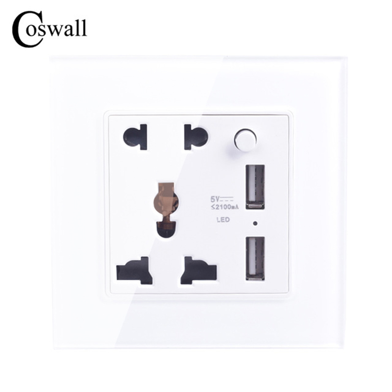 Coswall Crystal Glass Panel 5 Hole Universal Socket Switched With LED Indicator + Dual USB Charge Port For Mobile Output 5V 2.1A coswall wall socket uk standard power outlet switched with dual usb charge port for mobile 5v 2 1a output stainless steel panel