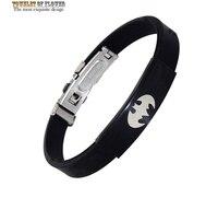 Novos homens da moda pulseira de silicone de qualidade boutique de aço titanium pulseira de aço preto bat batman partido pulseira ornamentos