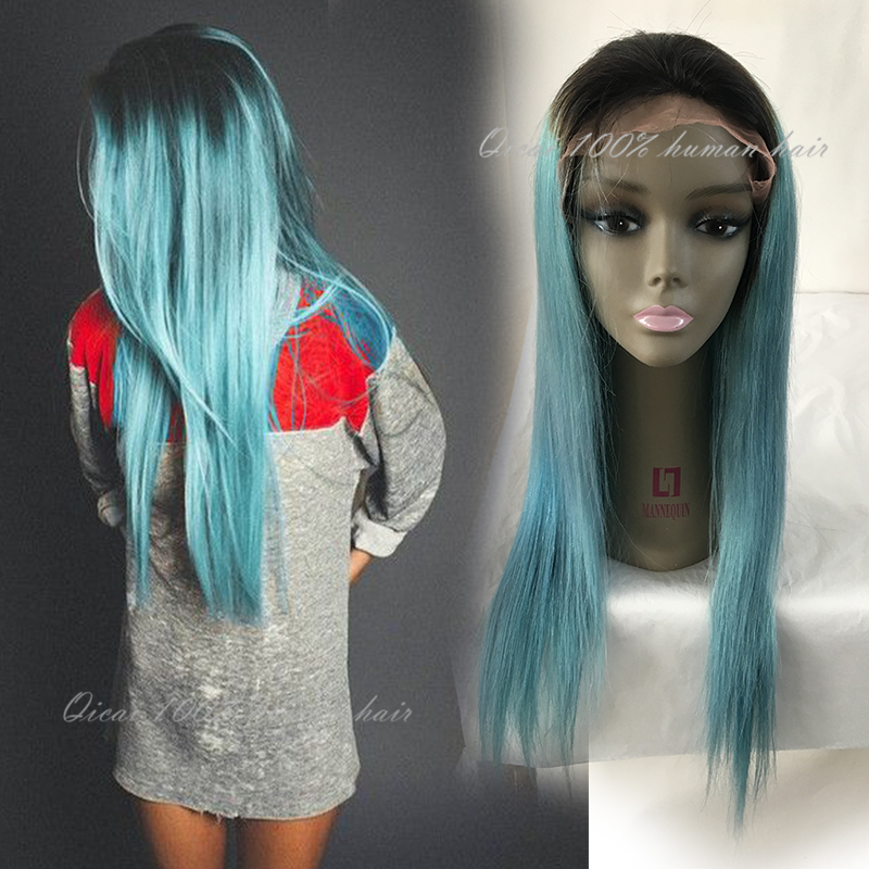 Ombre Blue Green Human Hair Wigs Peruvian Glueless Omber Lace Front Human Hair Ombre Teal Baby Hair Full Lace Short Bob Wig