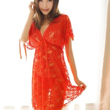 199a60c4367 Sexy Lace Night Gowns Women See Through sleep dress Deep V Neck Nightie  Girl Lingerie Chemise Babydoll Lady