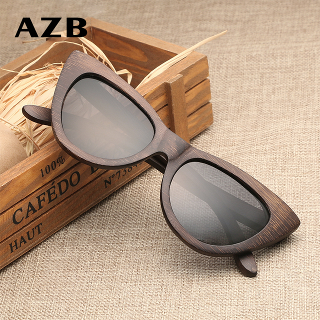 389d861d6f4 AZB new European and American trend cat eye bamboo wooden sunglasses  personalized polarized female models bamboo