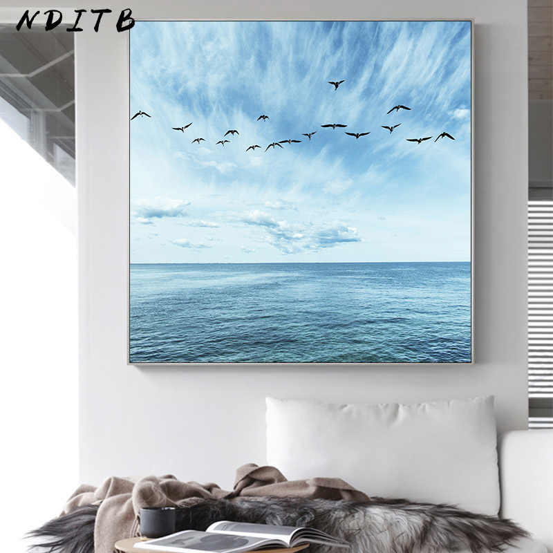 Blue Sky Sea Ocean Picture Wall Art Scandinavian Poster Nordic Print Minimalist Seascape Canvas Painting Modern Home Decoration