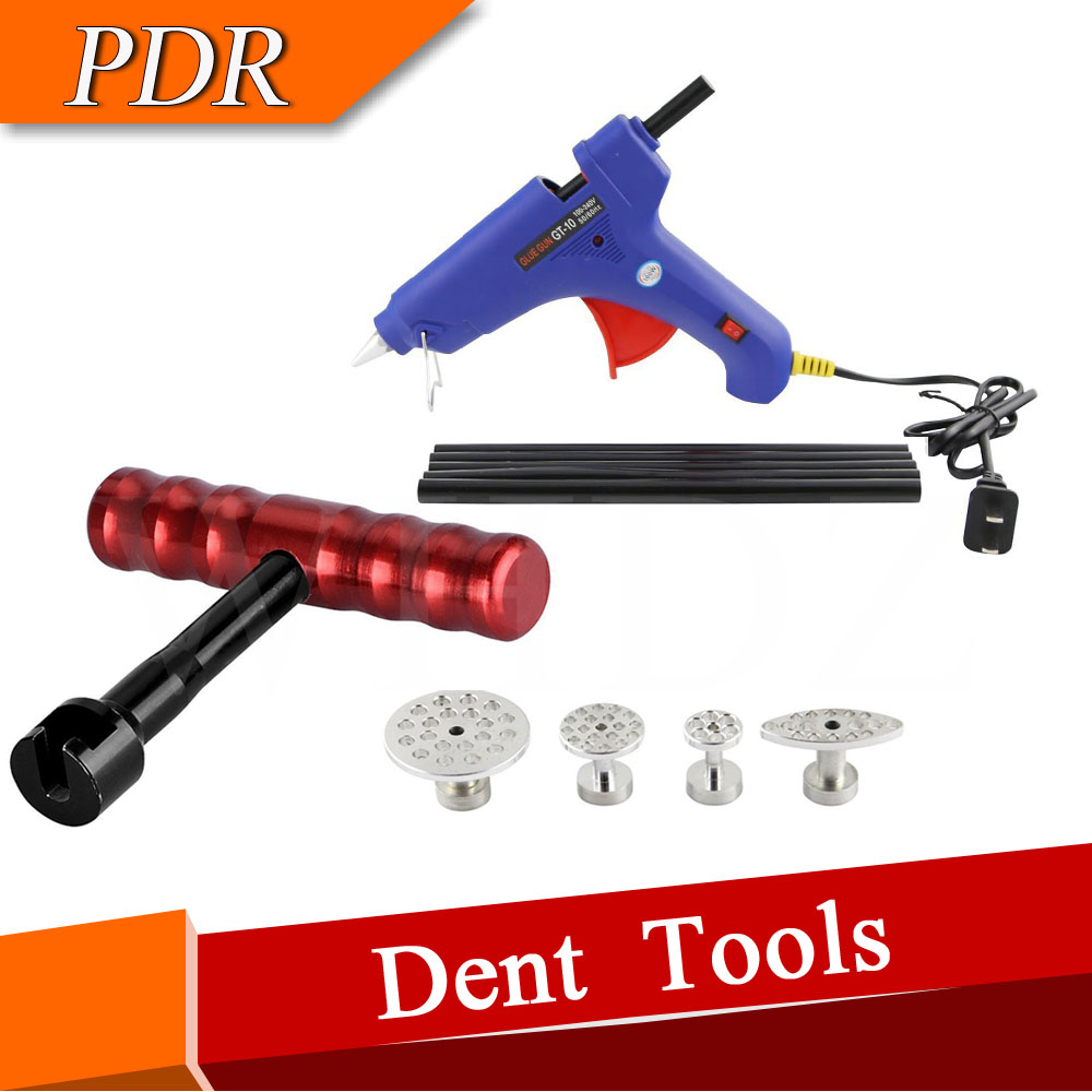 PDR T-handle Dent Puller with 4pcs Aluminum Puller Tabs + Hot Melt Glue Gun With Glue Stick for Paintless Dent Repair  цены