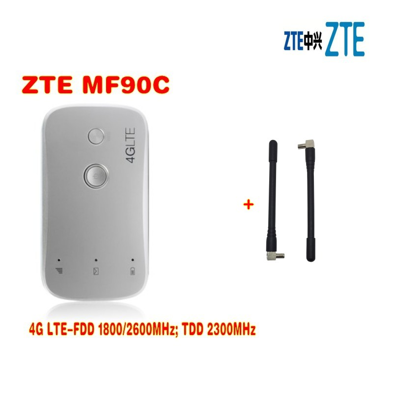 Unlocked zte MF90c MiFi 4g lte wifi Router Support LTE FDD 1800/2600MHz TDD 2300MHz MIFI 4G wifi hotspot plus 2pcs antenna wholesale original unlock lte fdd 150mbps alcatel one touch y855 4g mifi router support lte fdd 800 900 2100 1800 2600mhz