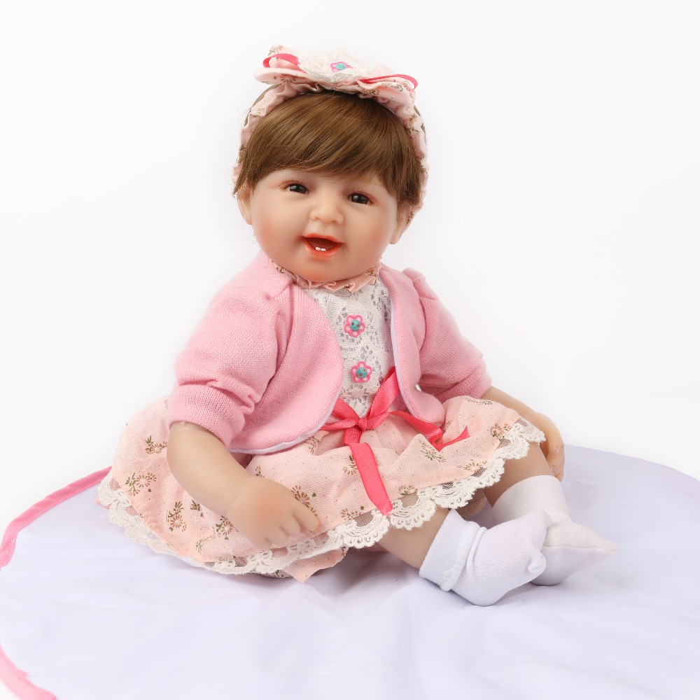 NPK DOLL Reborn Baby Silicone Smile Girl Pink Bebe Bowknot Hairband Educational Lovely Playmate For Kid 16 inch Brown Hair wig multicolor flower bowknot hairband
