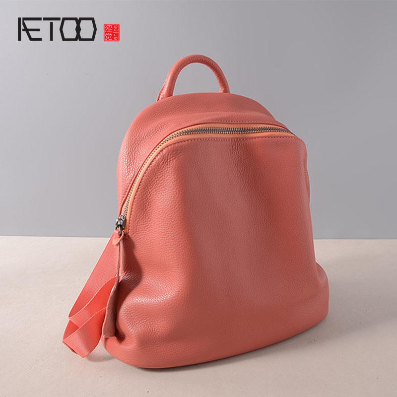 AETOO New leather backpack first layer leather Europe and the United States fashion soft leather shoulder bag women travel bag aetoo new leather ladies shoulder bag leather casual wild fashion europe and the united states trend female backpack female bag