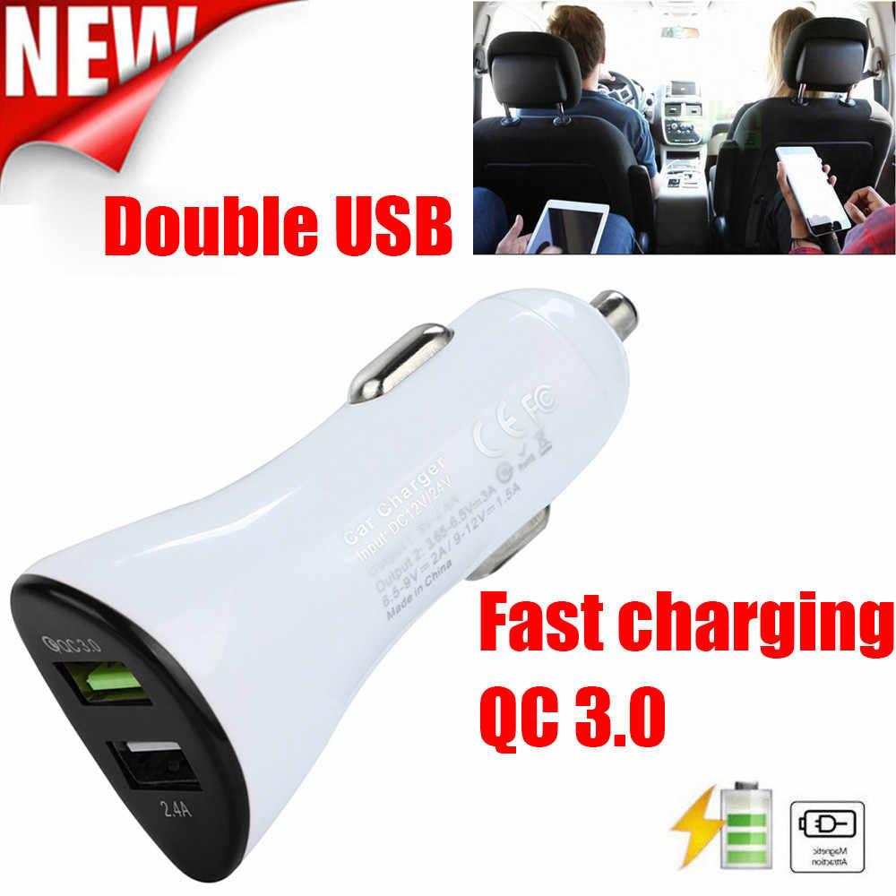 QC3.0 cargador de coche USB Dual 2 puertos pantalla LCD 12-24V encendedor de enchufe adaptador de carga USB para coche -cargador automático de diseño # D3