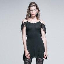 Devil Fashion Gothic Long T-Shirt Tops for Women Steampunk Female Elastic Tee Shirts with Tassel Black