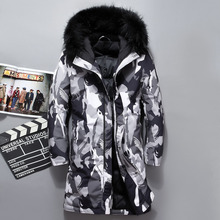 VSD 2019 moda invierno nuevo camuflaje chaqueta hombres abrigo caliente Parka larga engrosamiento hombres para el invierno de piel de lujo con capucha VSD8909