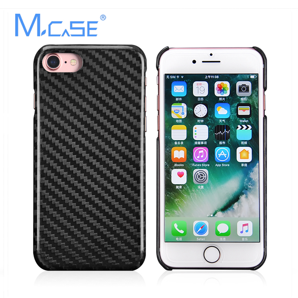 Mcase 0.7mm Ultra Thin 100% Real Carbon Fiber Case Cover for iPhone 7, for iPhone 7 Plus (Free 9H Screen Protector)