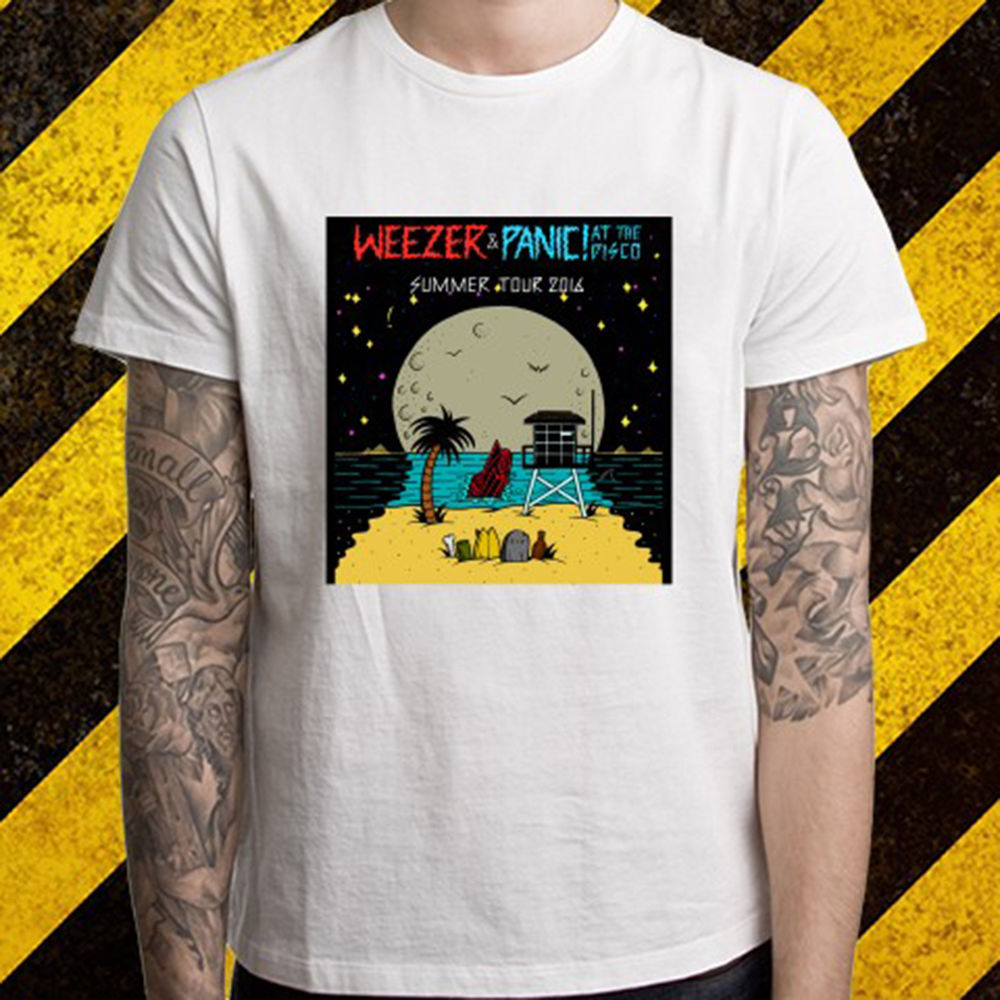 New WEEZER PANIC! AT THE DISCO TOUR Logo Mens White T-Shirt Size S To 2XL Fashion New Top Tees T Shirts The New Fashion