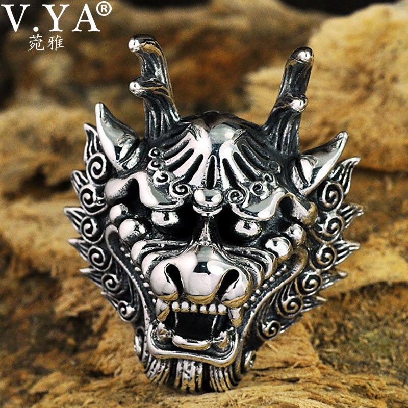 V. YA Dragon roi tête Thai argent anneaux pour hommes Rock Style réel 925 Sterling argent grande taille bague hommes fête bijoux
