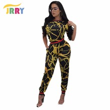 JRRY New Casual Two Pieces Print Women Jumpsuit Short Sleeve Top Skinny Long Pants Ladies Romper Plus Size 3XL