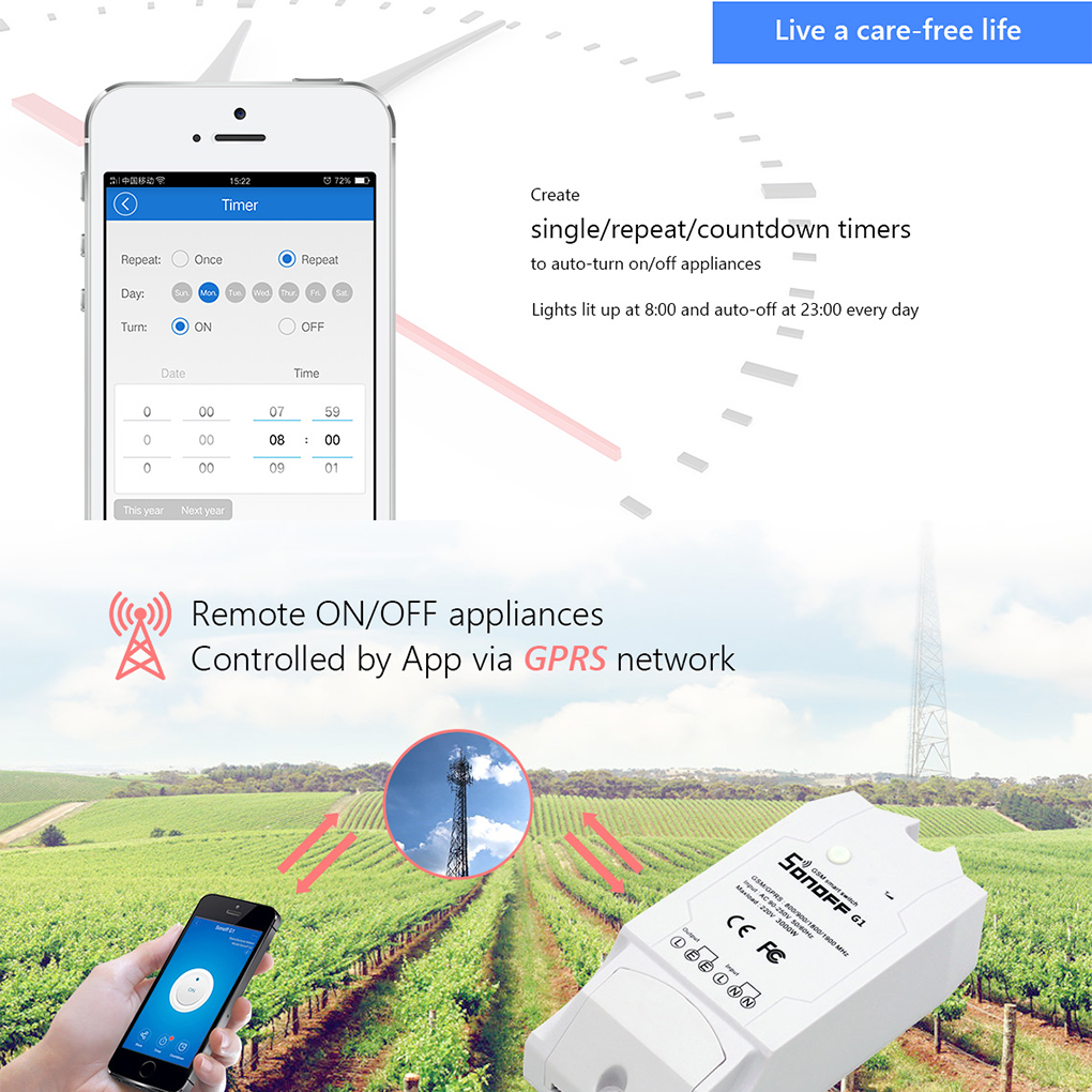 Sonoff G1 Smart Wireless WiFi Switch GPRS Switch GSM Mobile Phone Remote Controller Outdoor for Greenhouse Pet Feeding Use