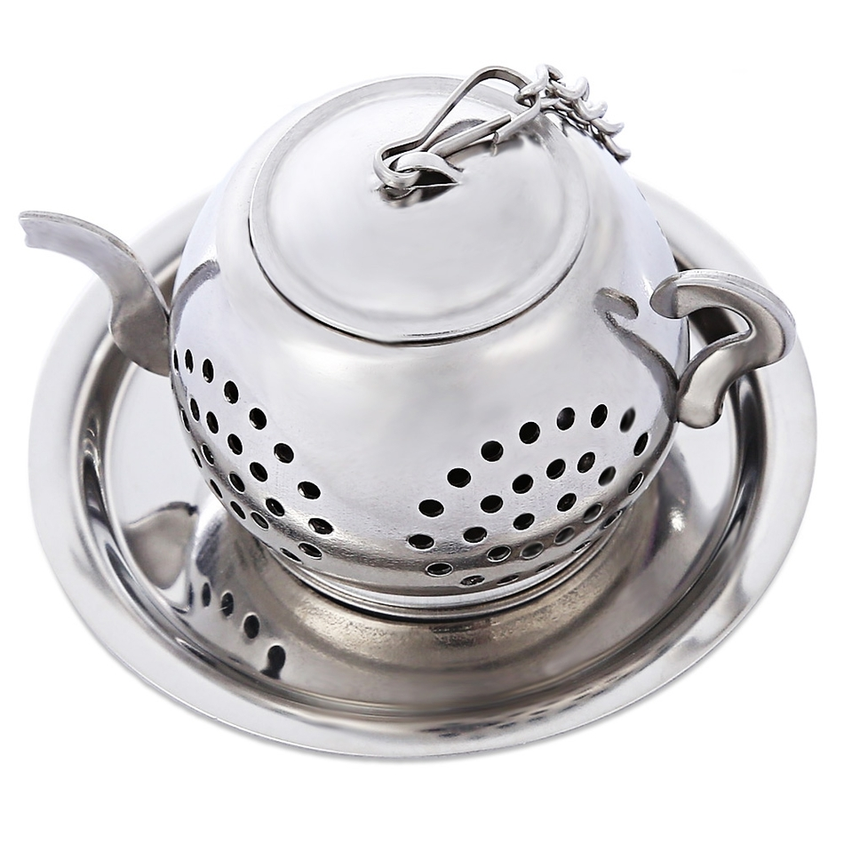Stainless steel teapot shape filter with tray chain mesh - Cup stainless steel teapot ...
