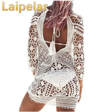 Laipelar 2018 Lace Dress Women Summer Beach Vestido Sexy Backless Dresses Hollow Out Flower White Mini Robe Tunic