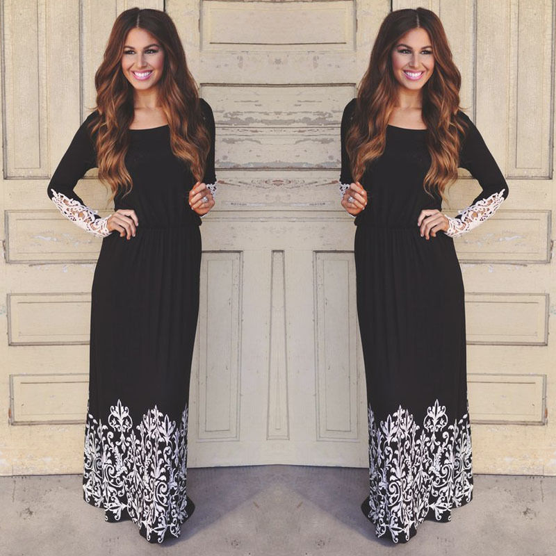 New Arrival 2016 Women Maxi Dresses Navy Round Neck Long Sleeve Womens Fashion With Button Floral Long Party Dress