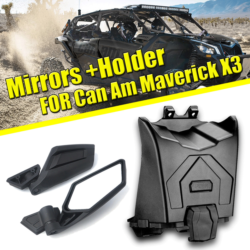 KEMIMOTO Black Side Rear View Mirrors + Tablet Phone Holder For Can Am Maverick X3 2017-2019 2018