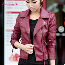 Autumn Women Casual Motorcycle PU Leather Jacket Long Sleeve Stylish Girls Coat Jacket Hot Outwear Slim Brand Zipper Tops