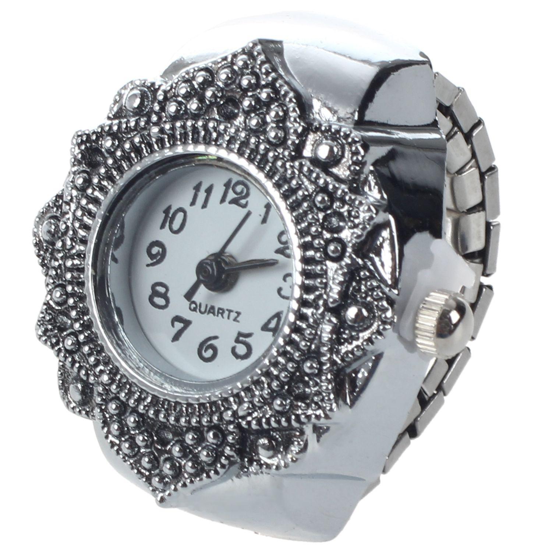 Practical Tibetan Silver Flower Men Lady Finger Ring Watch 0.87 HOT