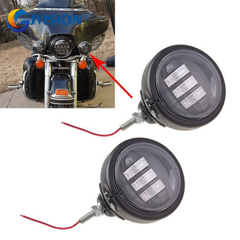 4-1/2'' 4.5inch Black LED Auxiliary Spot Fog passing light lamp with Housing Ring Mount Bracket for Harley Touring Electra Glide