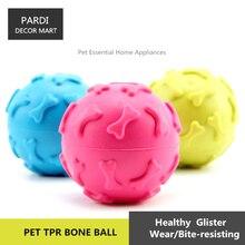 TPR eco-friendly pet toy bone print rubber ball bite molar pet toy molar toy bite resistance pet training essential 1pc/lot