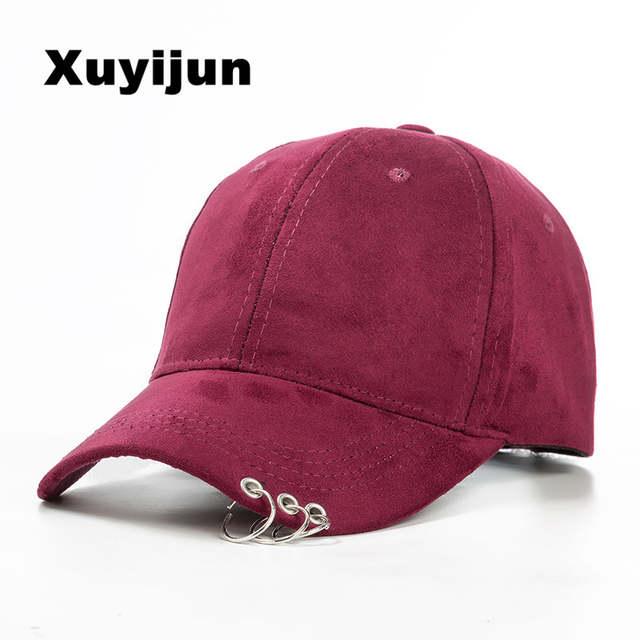 2101e071 XUYIJUN 2018 winter unisex solid Ring Safety Pin curved hats baseball cap  men women Suede snapback caps casquette gorras