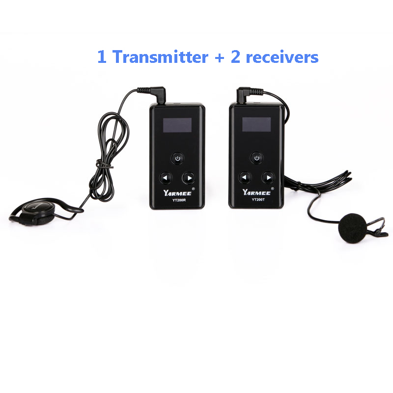 YARMEE Wireless Tour Guide System 1 Transmitter with Mic, 2 Receivers with Earphones YT200 dhl shipping atg100 portable mini meeting tourism teach microphone wireless tour guide system 1transmitter 15 receivers charger
