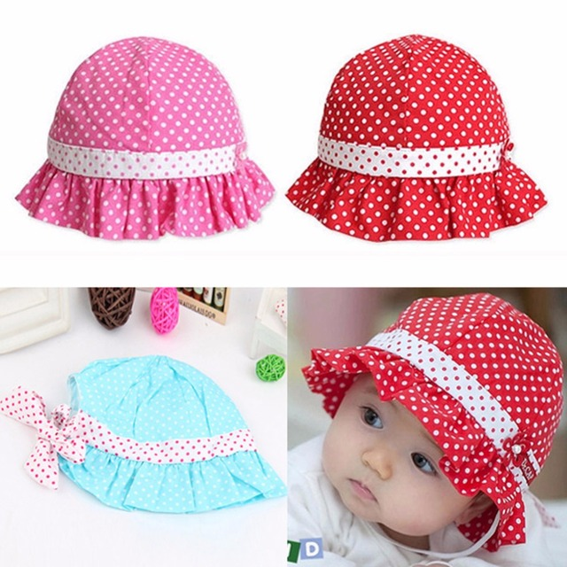 c985b01e093 Kid Toddler Baby Girl Sun Hat Polka Dot Flower Bucket Cap Bowknot Pearl Hat