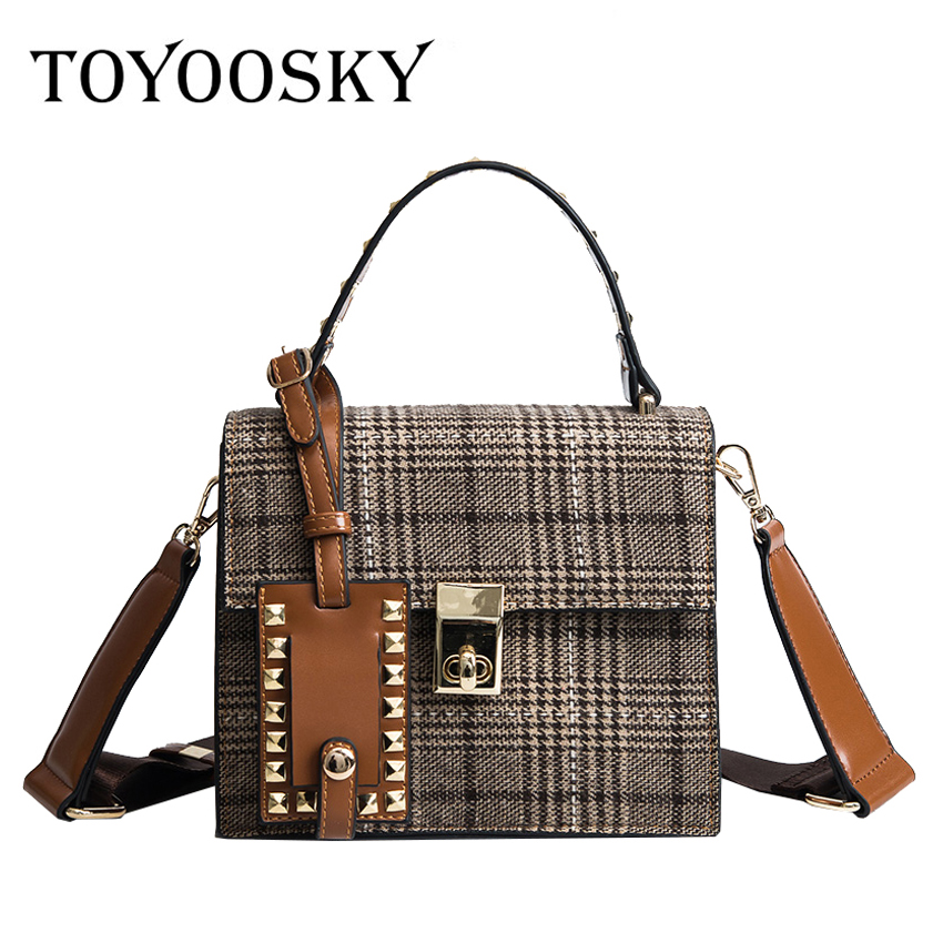 TOYOOSKY Women Messenger Bags High Quality Female Flap Bag Designer Rivet Wool Women Handbags Small Luxury Women Crossbody Bags vintage women bag high quality crossbody bags luxury designer large messenger bags famous brands female shoulder bag tassen flap