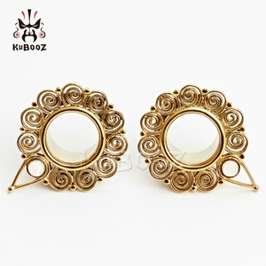 Image 2 - KUBOOZ Piercing screw back ear plugs piercing body jewelry gold ear tunnels stainless steel opal gauges wholesale