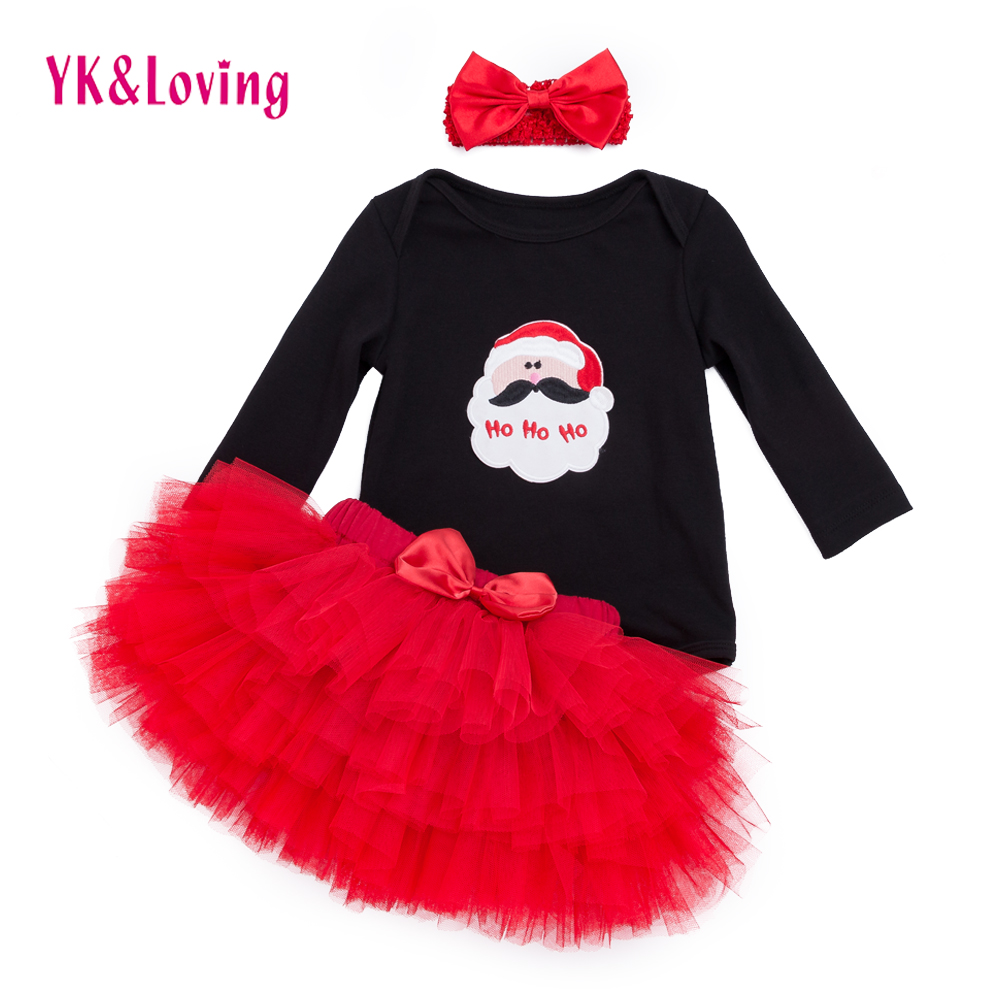 Cartoon Baby Clothing Sets Black Long Sleeve Rompers + Red Ruffle Skirts + Headband 3pcs Set Tutu Pettiskirt Girl Clothes