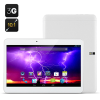 Boda 10.1 Inch cell phone sim card 3G Tablets pcs Android 4.4 Dual Core 1.3Ghz, 1024x600 8GB ROM support 32GB SD Card(White)