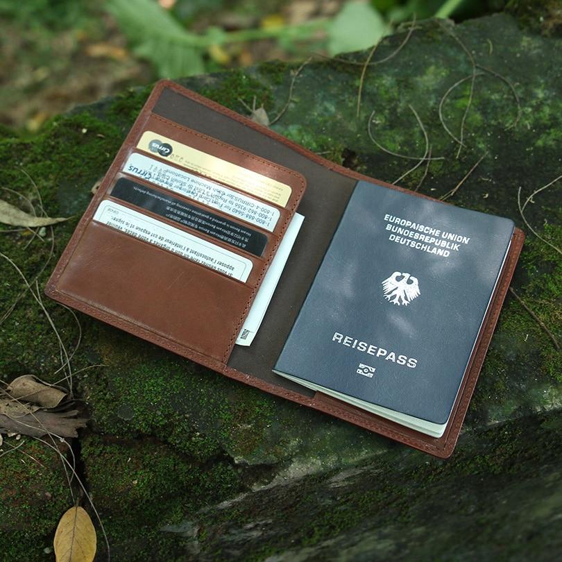 Hiram Beron housse de passeport en cuir pour hommes porte-documents de voyage nom personnalisé service passeport sac étiquette initiale