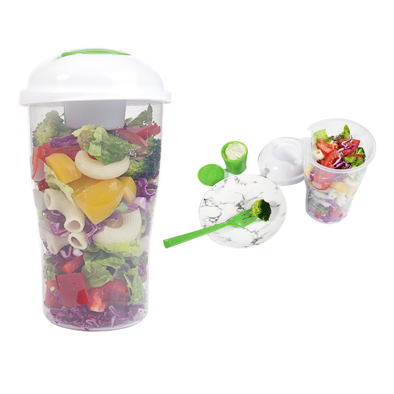 Fresh Salad On Go Cup Container Serving Cup Shaker with Dressing Container Fork Food Storage Use for Picnic Plastic