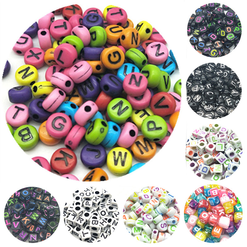 100pcs/lot 7mm Handmade Round Square Colorful Alphabet/Letter Acrylic Beads For DIY Bracelet Necklace Random Letter Gift(China)
