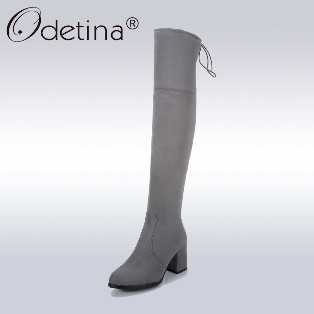 Odetina Sexy Lace Up Over-the-Knee Boots Women Classic Suede Zipper Long Boots Lady Grey Square Heel Motorcycle Boot Size 46